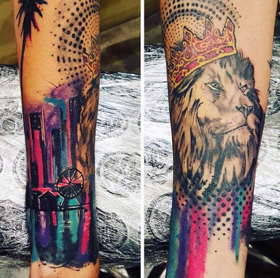 Watercolor lion tattoo for teenager