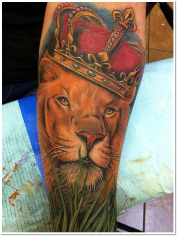 Watercolor tribal lion tattoo design on arm