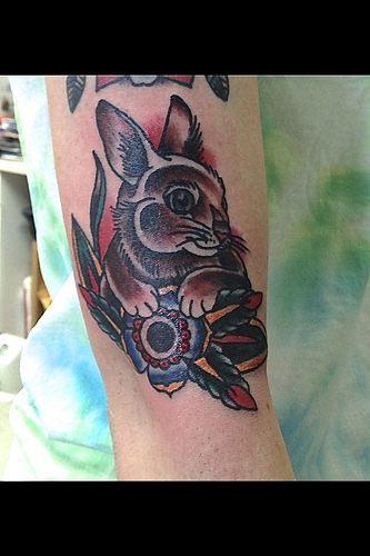 Wonderful colorful rabbit tatoo on arm