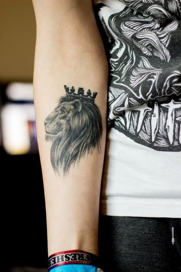 best lion tattoo on forearm