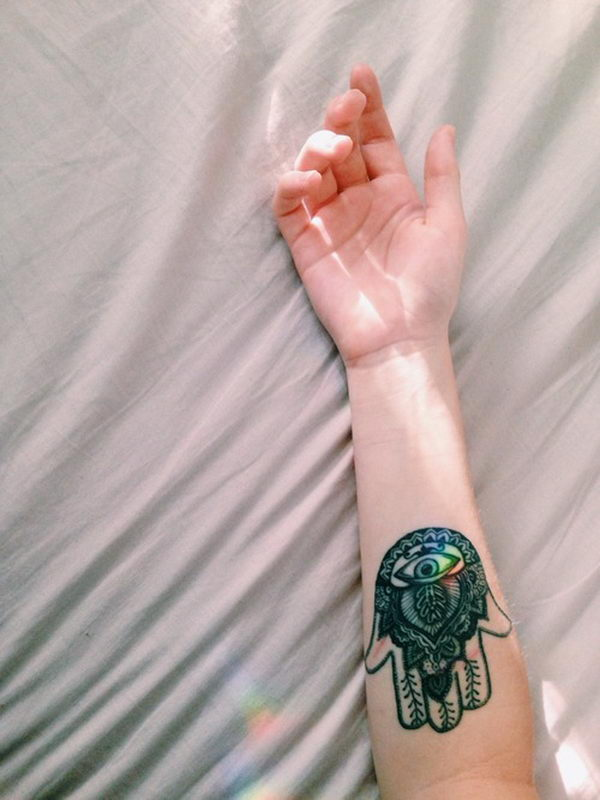 colorful hamsa tattoo on wrist - 87b6