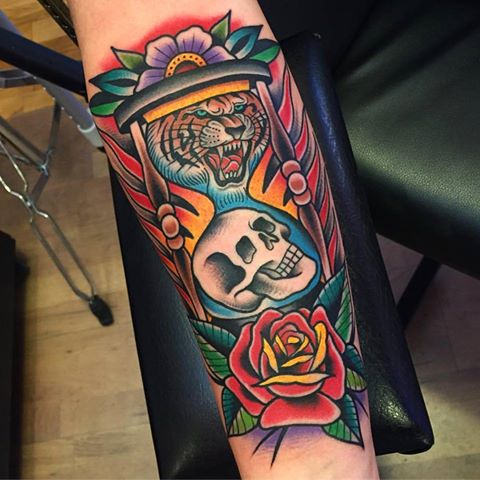 colorful hourglass tattoo cool colorful idea designs