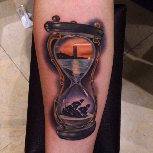 cool hourglass tattoo horny ideas