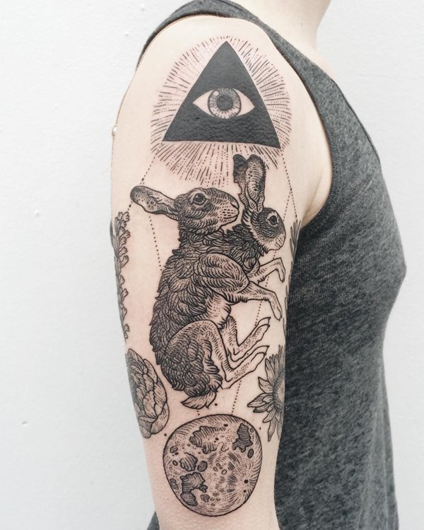 cool rabbit tattoo designs on arm for boys