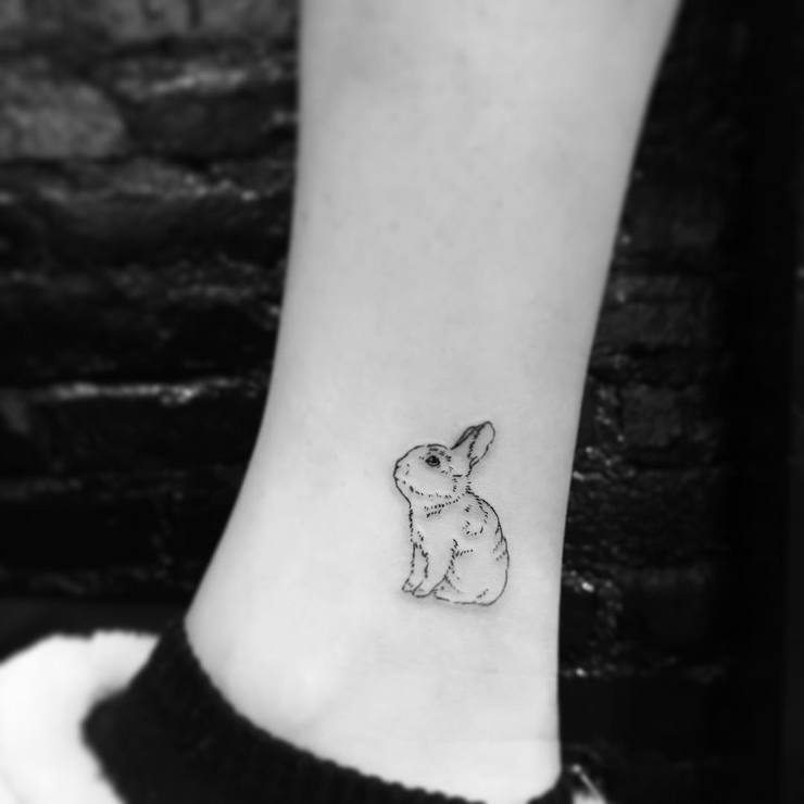 cool rabbit tattoo on ankle