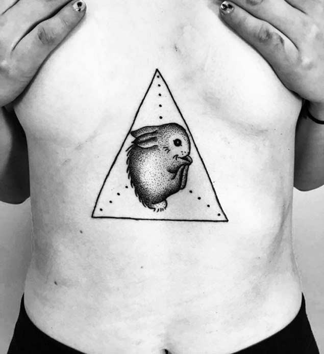 cool rabbit tattoo on chest design diary
