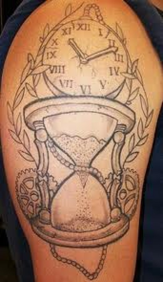 fabulous hourglass tattoo ideas on arm in black color