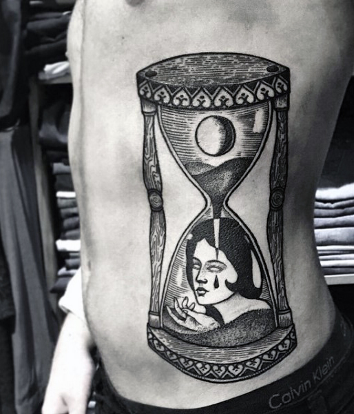 fabulous hourglass tattoo ideas on ribs