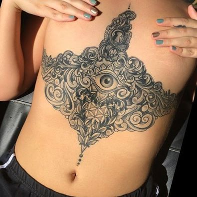 good luck hamsa tattoo on chest - 7676