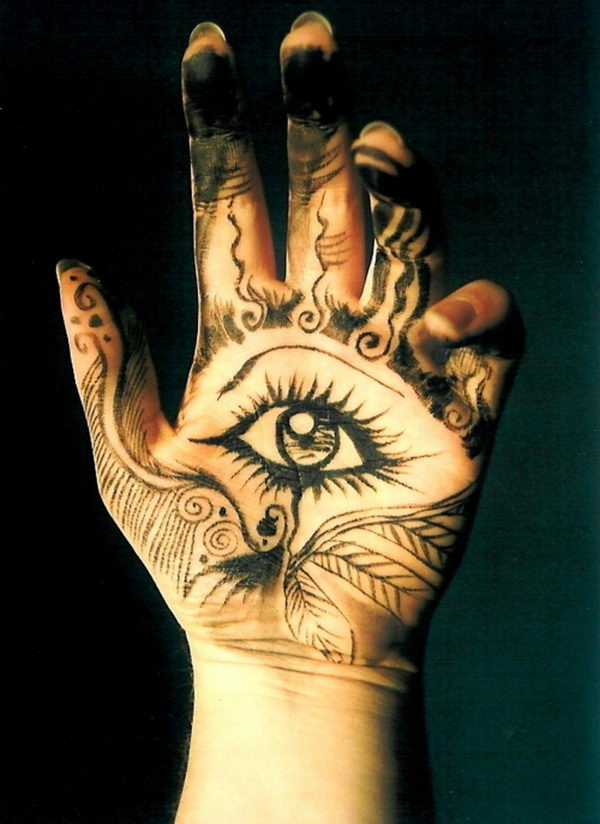 hamsa eye tattoo on hand for good luck - 8776