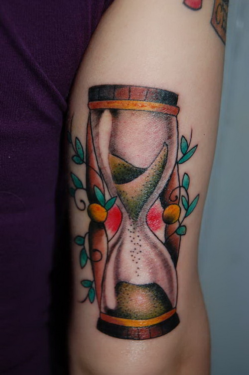 unique colorful hourglass tattoo on arm