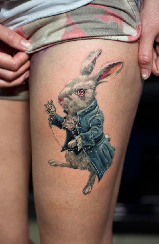unique rabbit tattoo on thigh