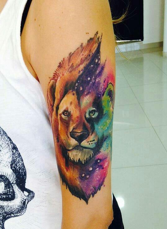 watercolor lion tattoo design