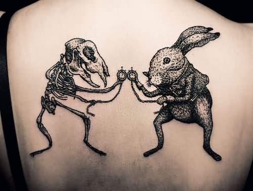 wonderful aggresive rabbit tattoo and bunny skelton