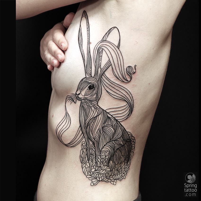 wonderful rabbit tattoo design diary photos and ideas. Black Bedroom Furniture Sets. Home Design Ideas