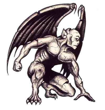 Fragile demon tattoo with wings