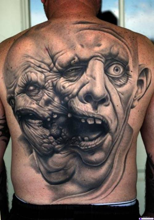 Gost tattoo on back to get devil look