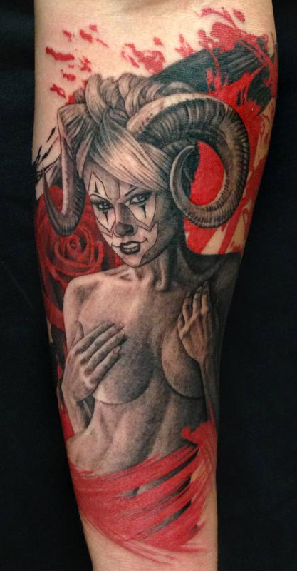 Moster girl devil tattoo inked blood as color