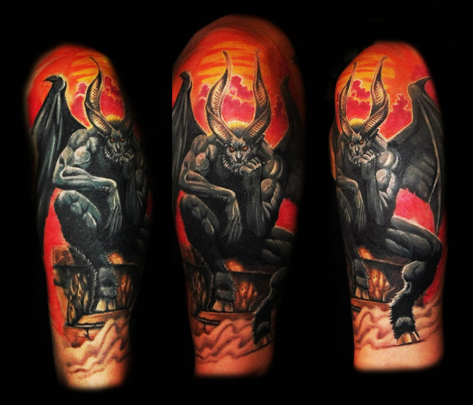 Scary devil tattoo burned in flames