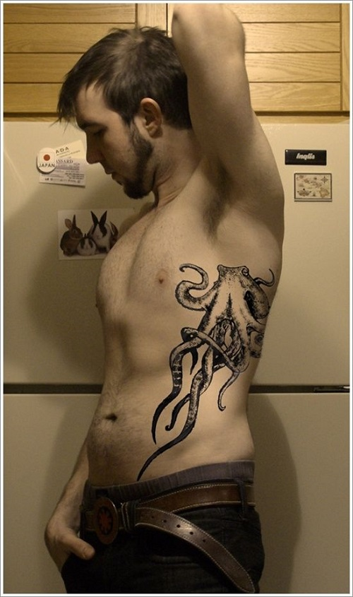 Traditional octopus tattoo on rib to cover body with octopus tattoo designs
