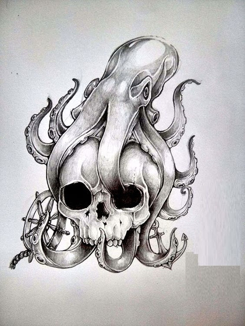 amazing octopus skull tattoo drawing and stensil