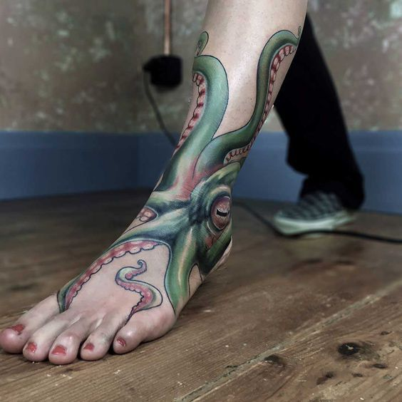 best floating octopus tattoo concepts and ideas for foot