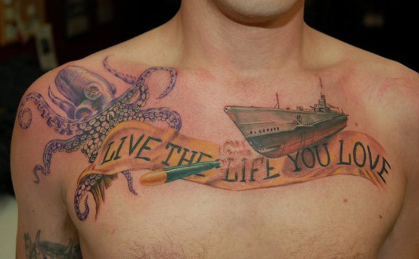 best octopus tattoo designs for chest with romantic message photos and ideas. Black Bedroom Furniture Sets. Home Design Ideas