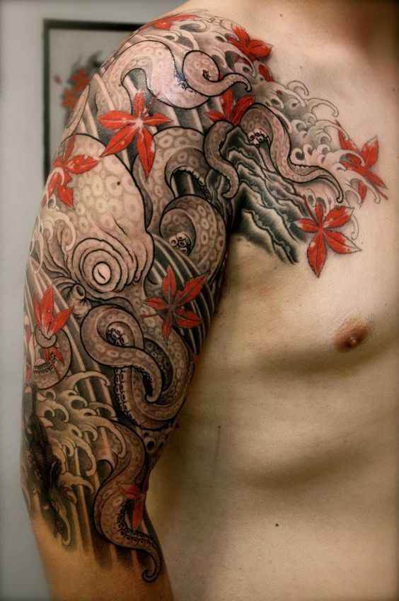 classy octopus tatoo for manly llok on arm