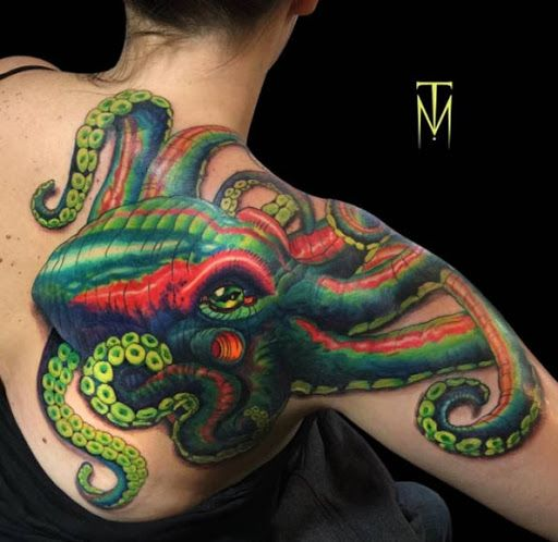 colorful pctopus tattoo ideas to cover back of shoulder