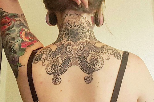 cool octopus tattoo to cover neck with octopus designs