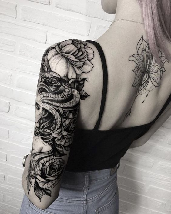 feminine octopus tattoo to draw on shoulder and arm