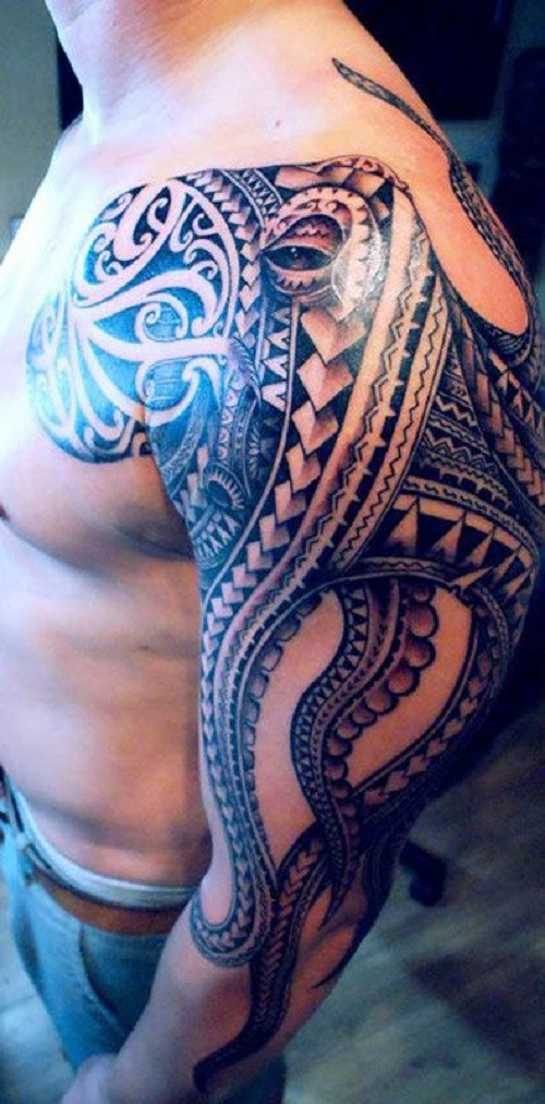 geometrical octopus tattoo going from shoulder to forearm