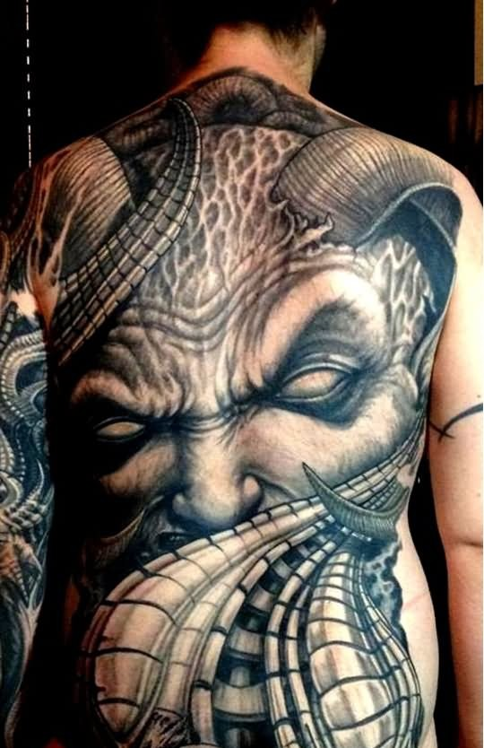 scary devil tatoo on full back in black ink only