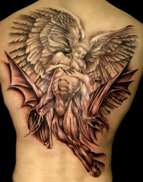 sexy devil and angel tattoo on back inked brown