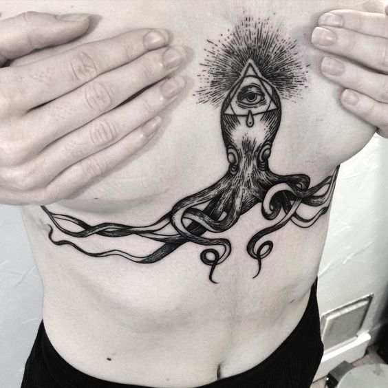 stunning ideas about octopus tattoo design to cover underbreast