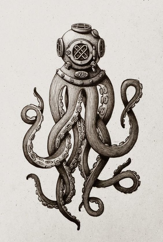 traditional octopus stensil in grey color